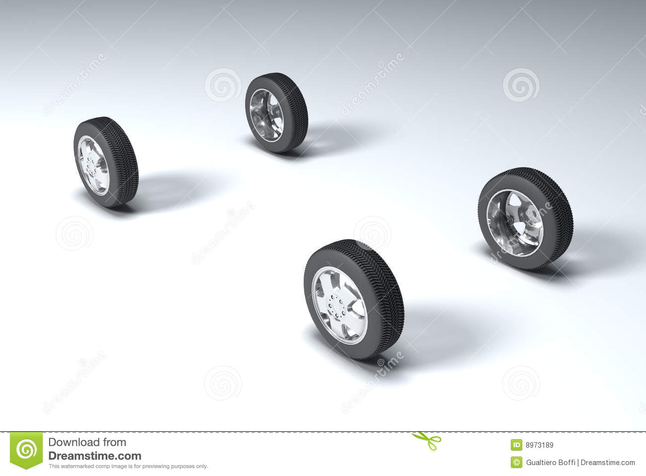 Four Wheeler With Rims: Four Wheels Stock Illustration. Illustration Of Flat, Race