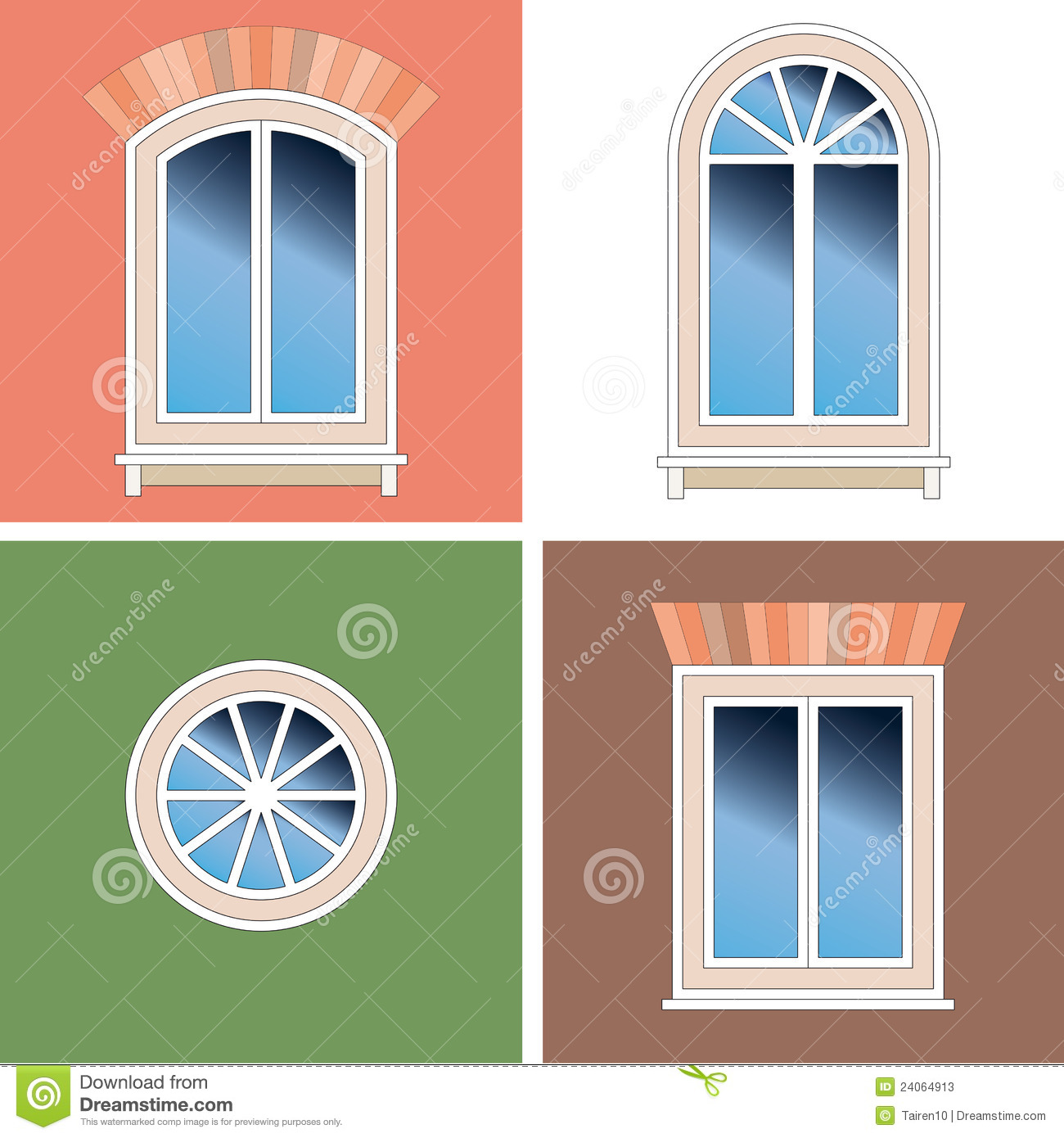 Four windows over stucco background stock photos image for Window design 4 by 4