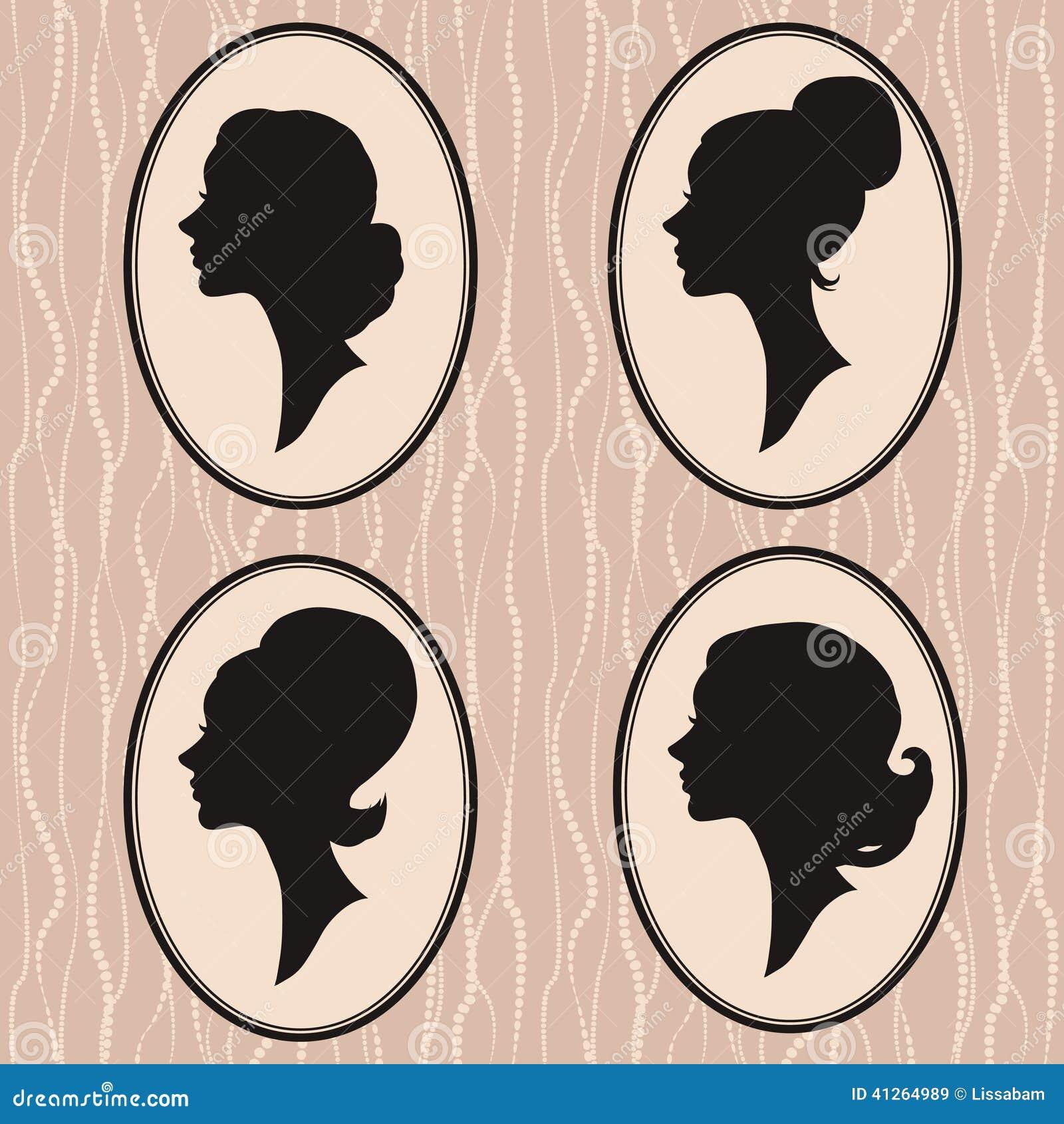 profile Vintage silhouette woman