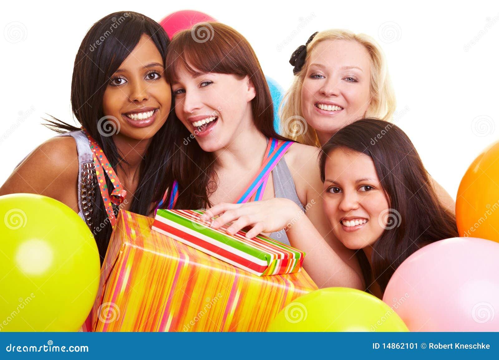 Four women celebrating a friends