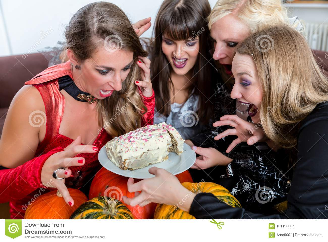 Download comp  sc 1 st  Dreamstime.com & Four Women Wearing Halloween Costumes While Posing Funny Before ...