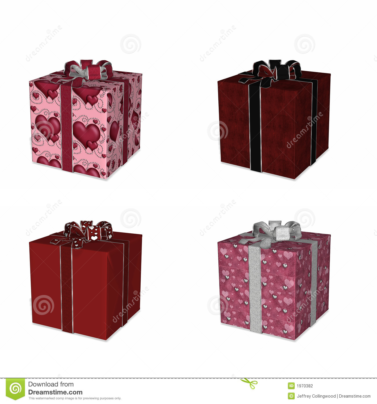 Four Wrapped Gifts For Love Stock Photography Image 1970382