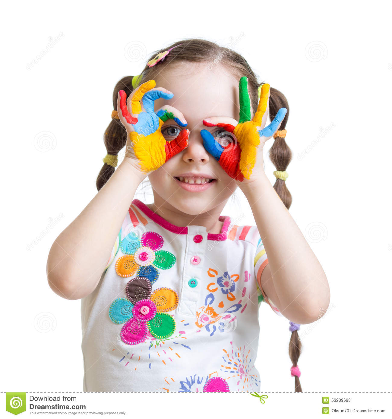Download Four Year Old Child Girl With Hands Painted In Stock Image - Image of colorful, girl: 53209693