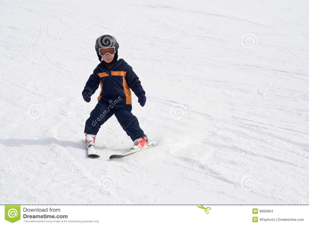 Four Year Old Child Skiing Alone Stock Photo Image Of