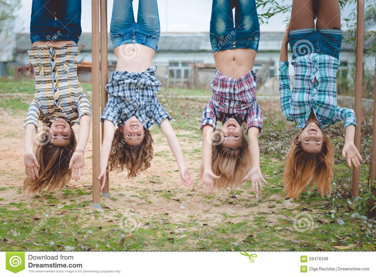 Nude teen girls upside down