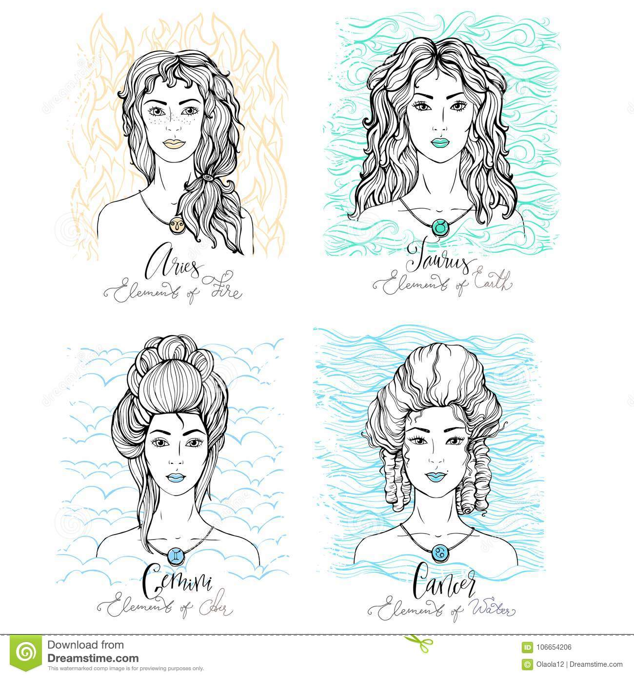 Four Zodiac Signs Beauty Girls Stock Vector - Illustration of