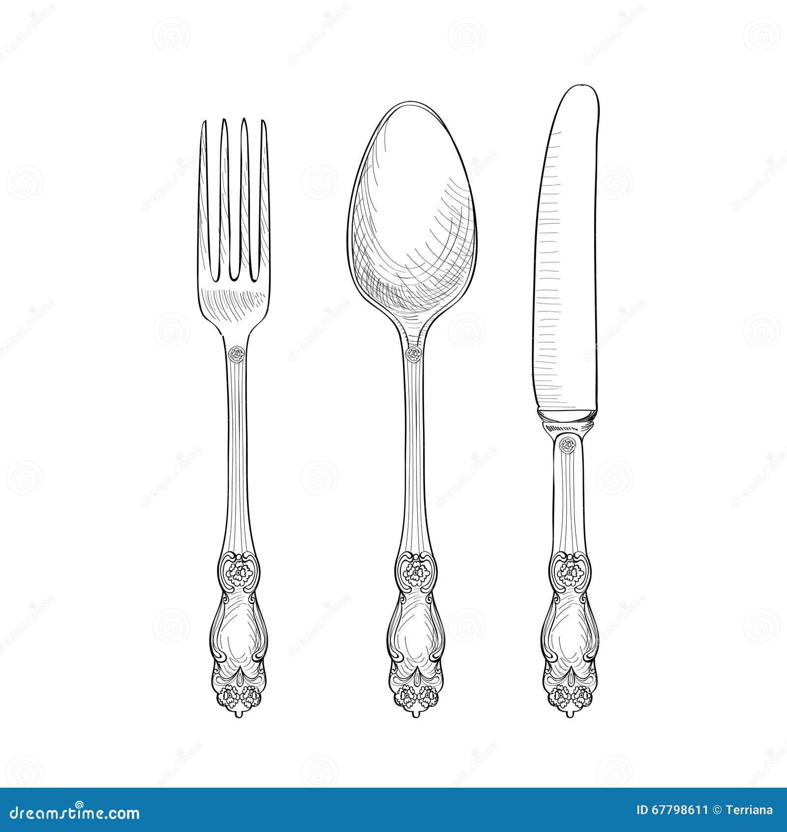 Fourchette couteau ensemble de croquis de cuill re collection de dessin de main de couverts - Cuillere dessin ...