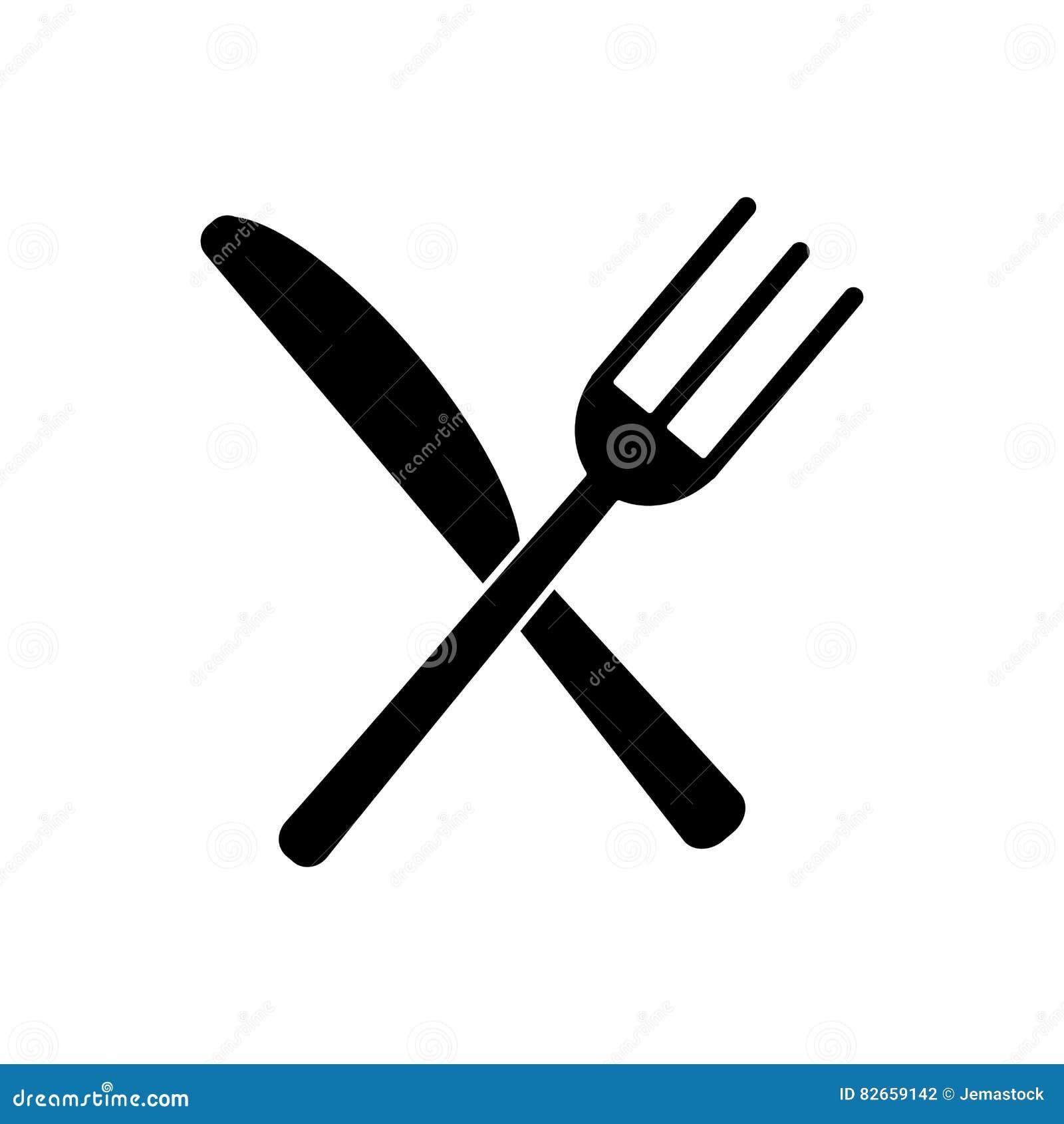 fourchette d 39 ustensiles et pictogramme de couteau crois s par cuisine illustration de vecteur. Black Bedroom Furniture Sets. Home Design Ideas