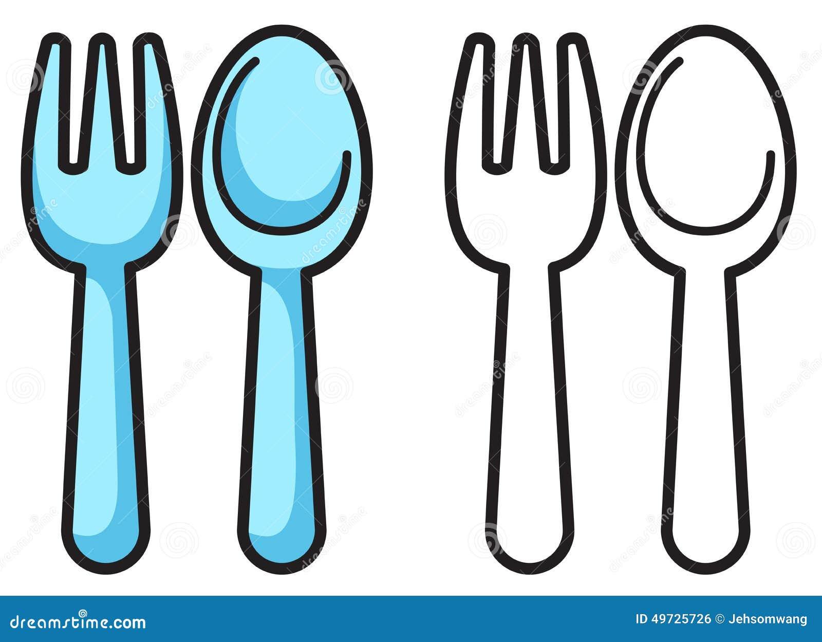 Fourchette et cuill re color es et noires et blanches pour livre de coloriage illustration de - Cuillere dessin ...