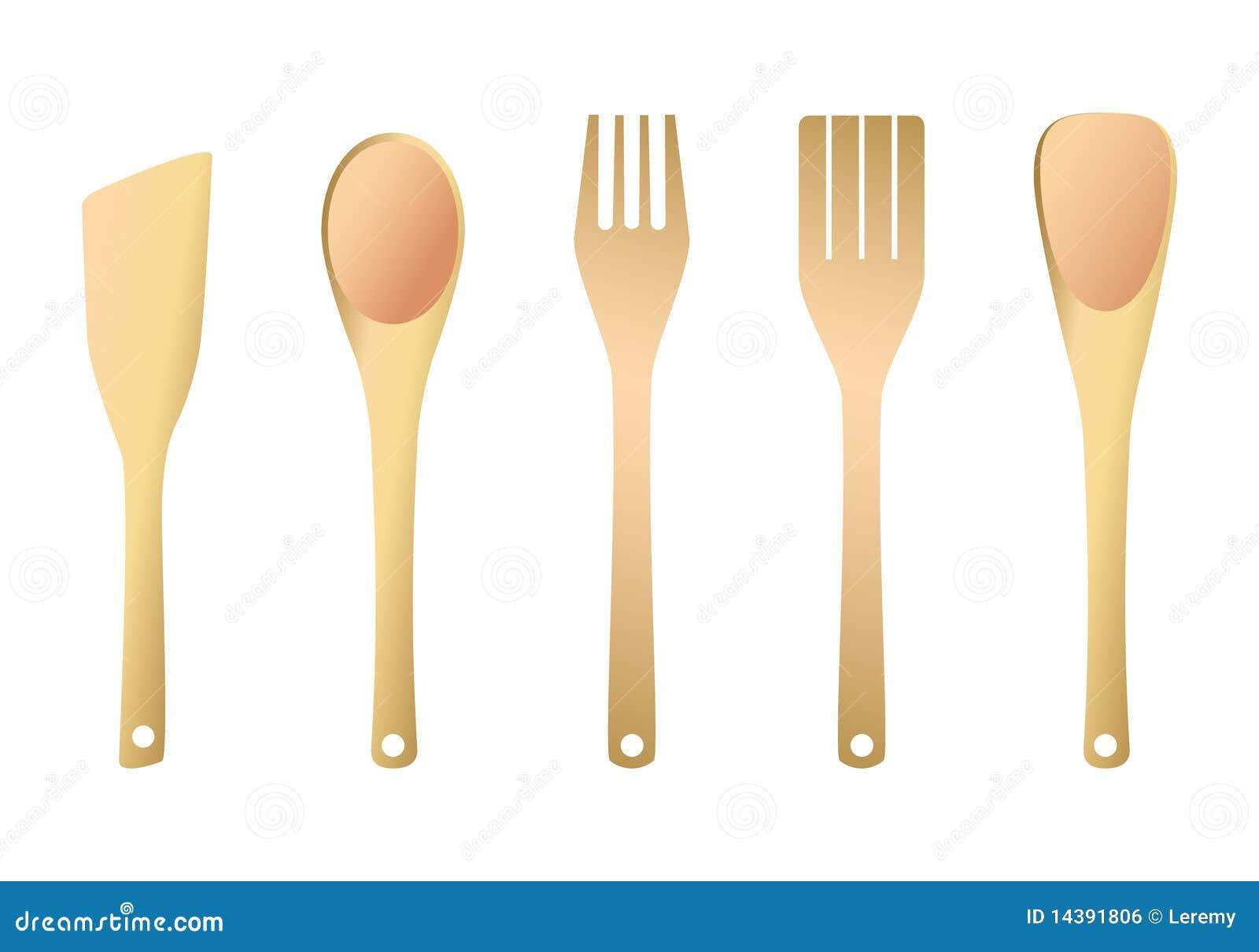 fourchette et spatule en bois pour la cuisine image libre de droits image 14391806. Black Bedroom Furniture Sets. Home Design Ideas