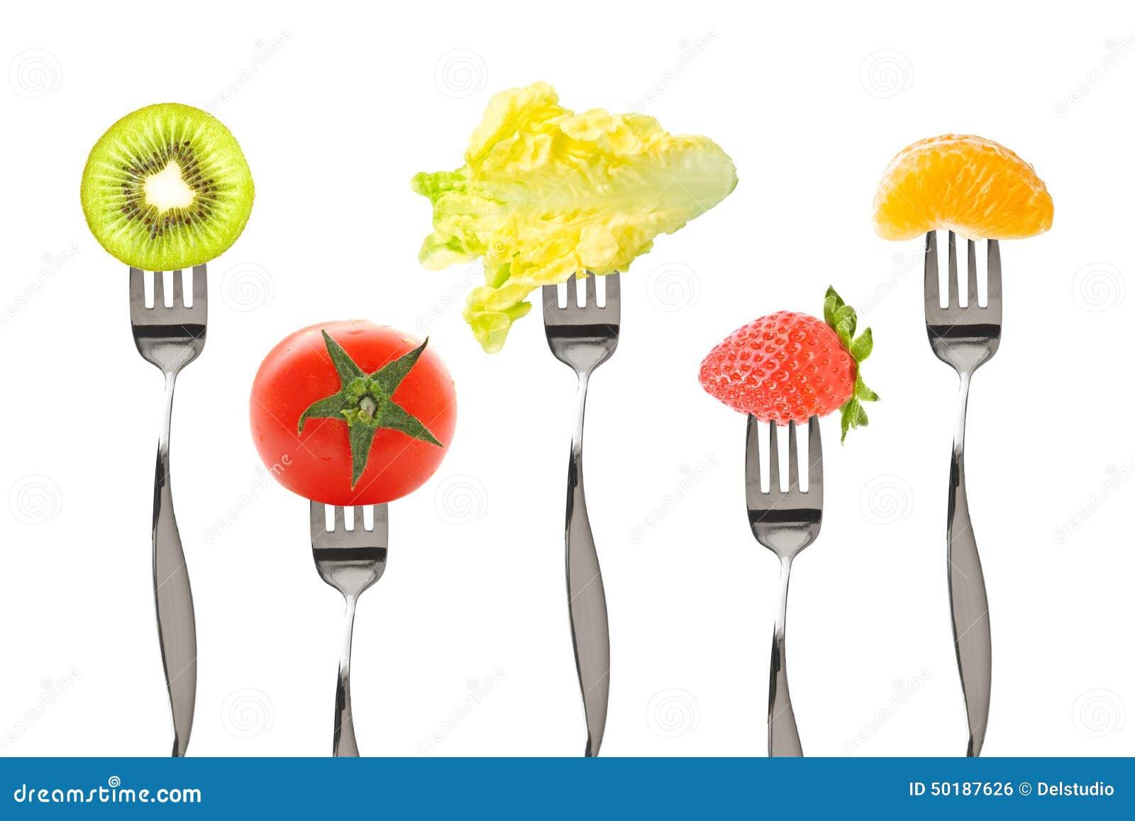 Fourchettes avec des fruits et l gumes photo stock image 50187626 - Fruits et legumes de a a z ...
