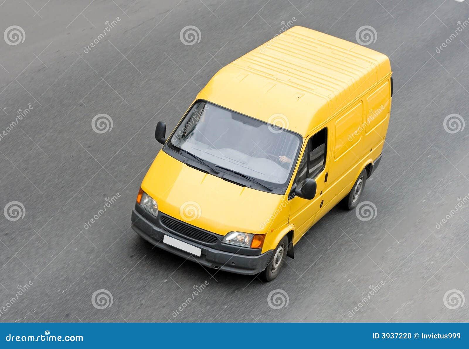 fourgon blanc jaune de camionnette de livraison photo stock image 3937220. Black Bedroom Furniture Sets. Home Design Ideas