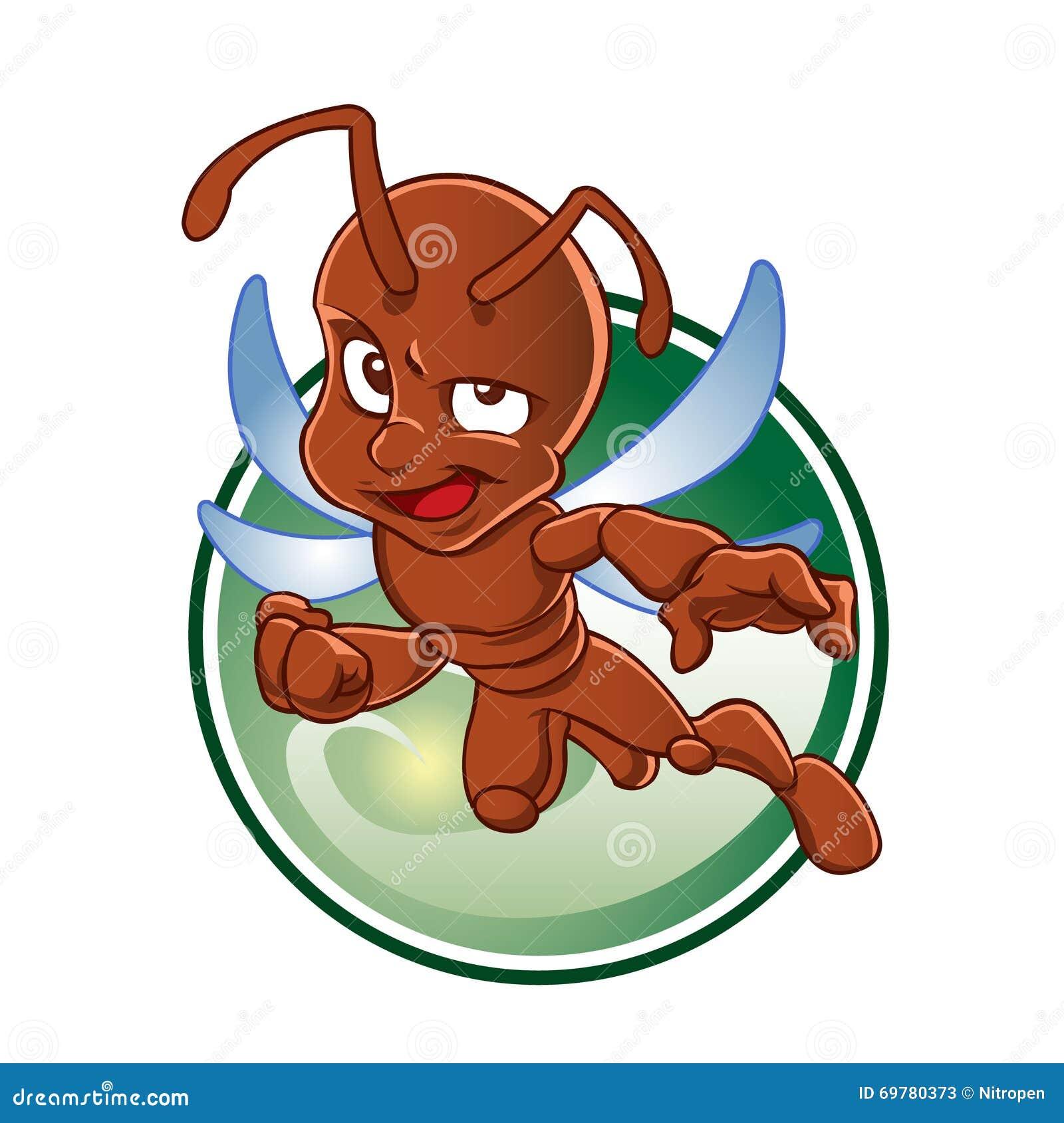 fourmi rouge de bande dessin e avec des ailes illustration de vecteur image 69780373. Black Bedroom Furniture Sets. Home Design Ideas