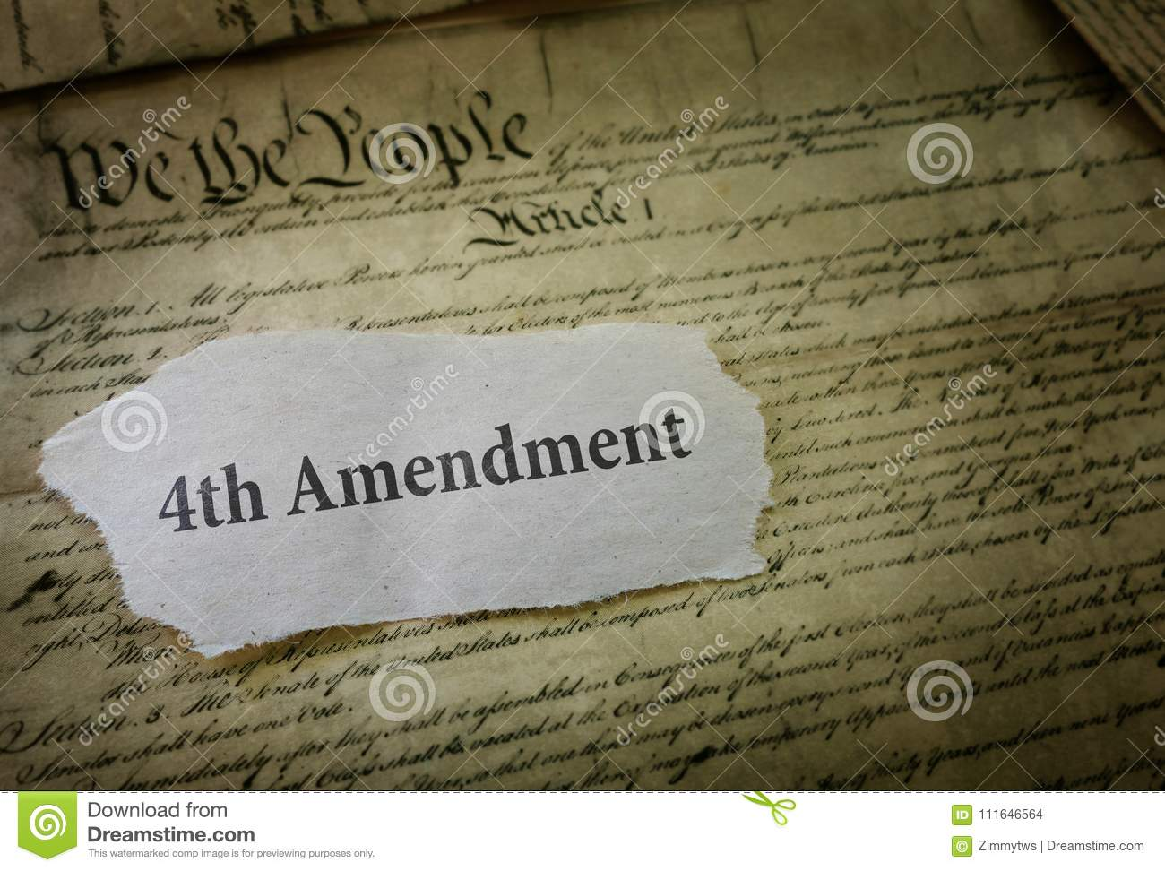 4th Amendment Newspaper Headline On A Copy Of The Us Cons Ution