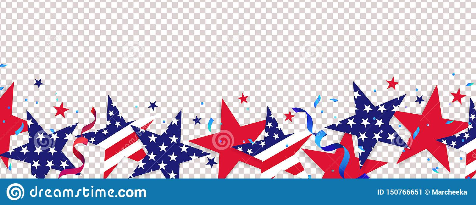 Fourth of July background. 4th of July holiday long horizontal border
