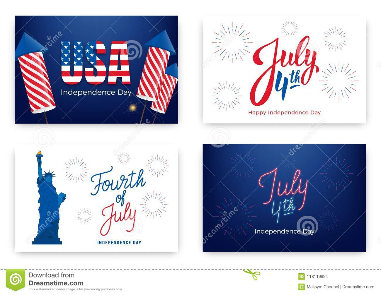 Fourth of july holiday banners for usa independence day set of download comp stopboris Gallery