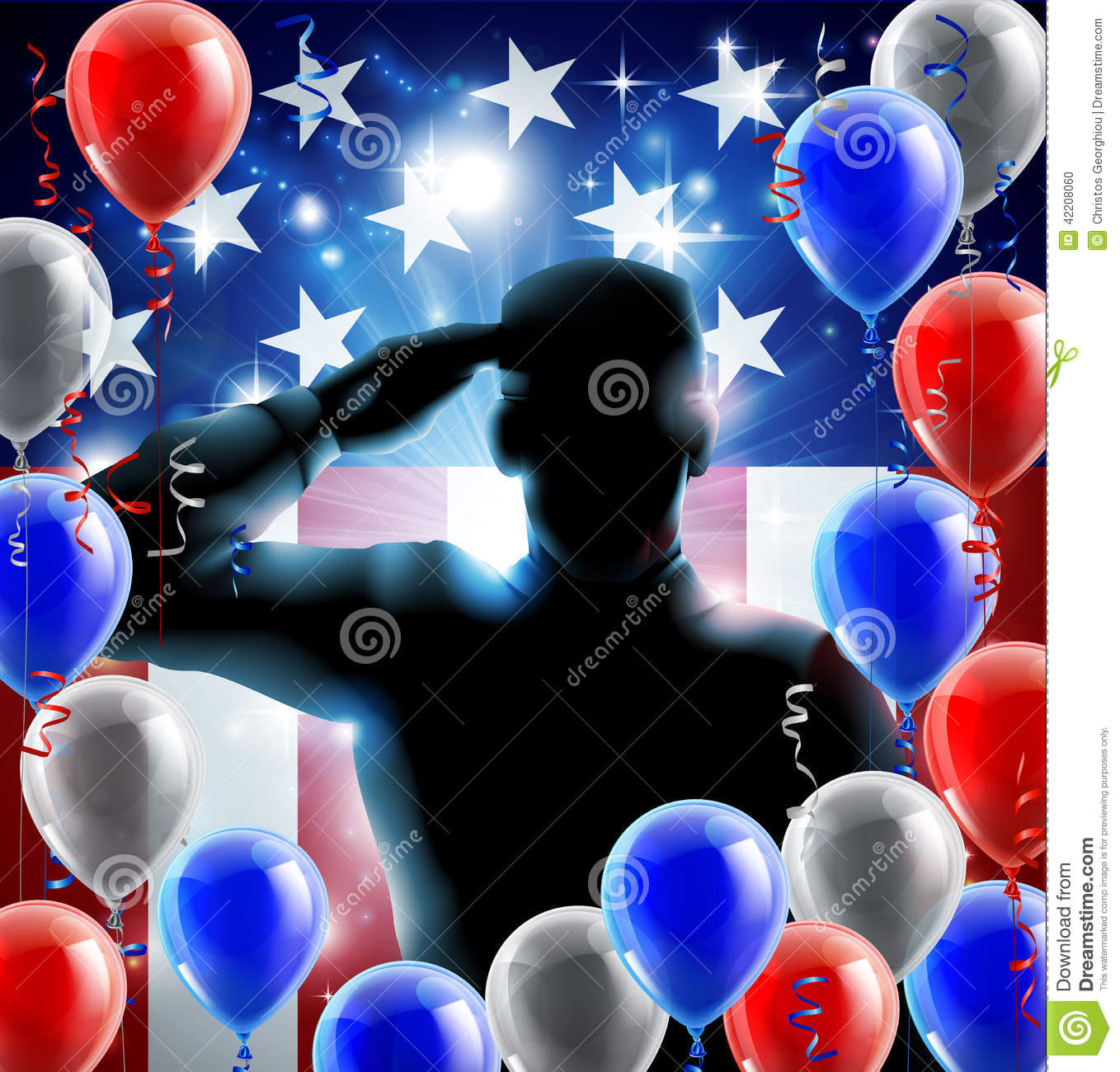 465ca0361b1 Patriotic soldier or veteran saluting in front of an American flag veterans  day background with red white and blue balloons and streamers