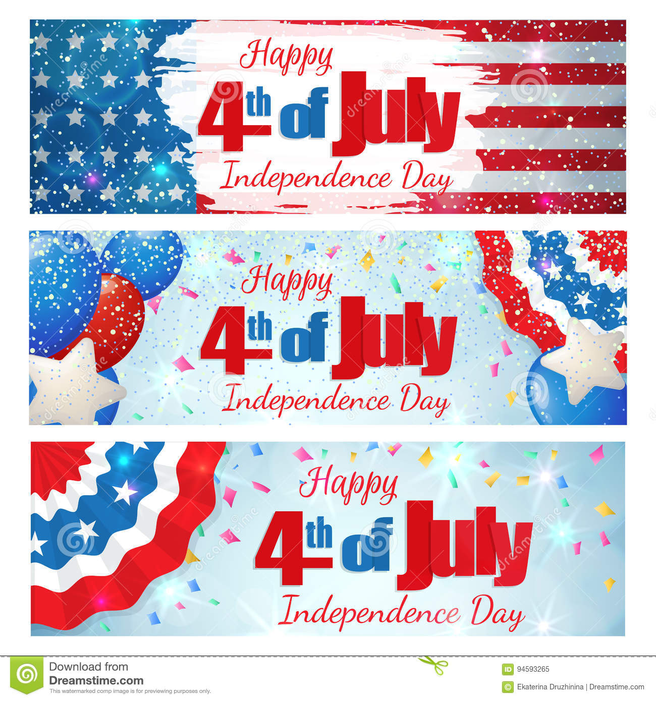 Fourth Of July Independence Day Horizontal Banner Stock Vector