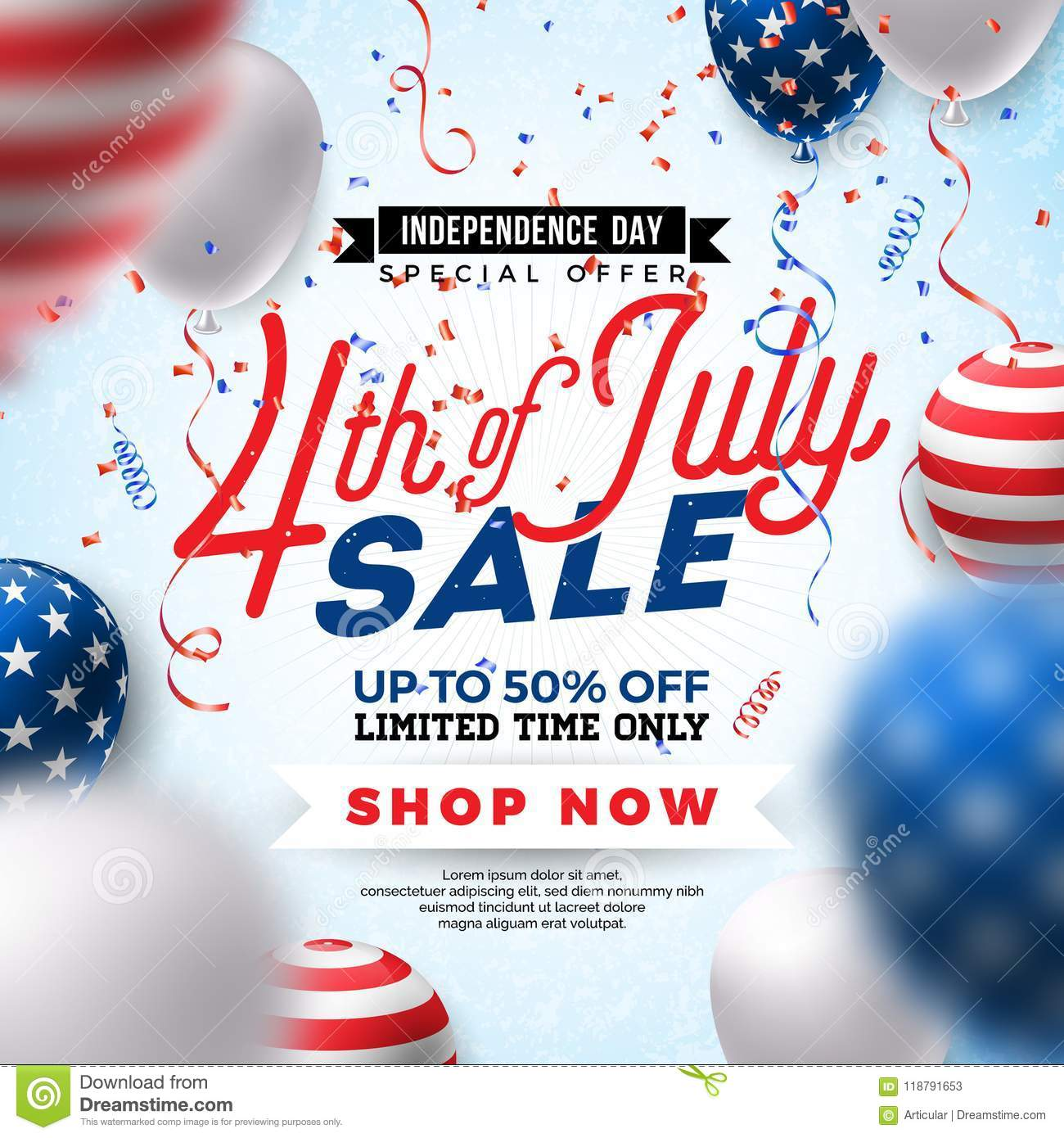 Fourth of July. Independence Day Sale Banner Design with Balloon on Confetti Background. USA National Holiday Vector