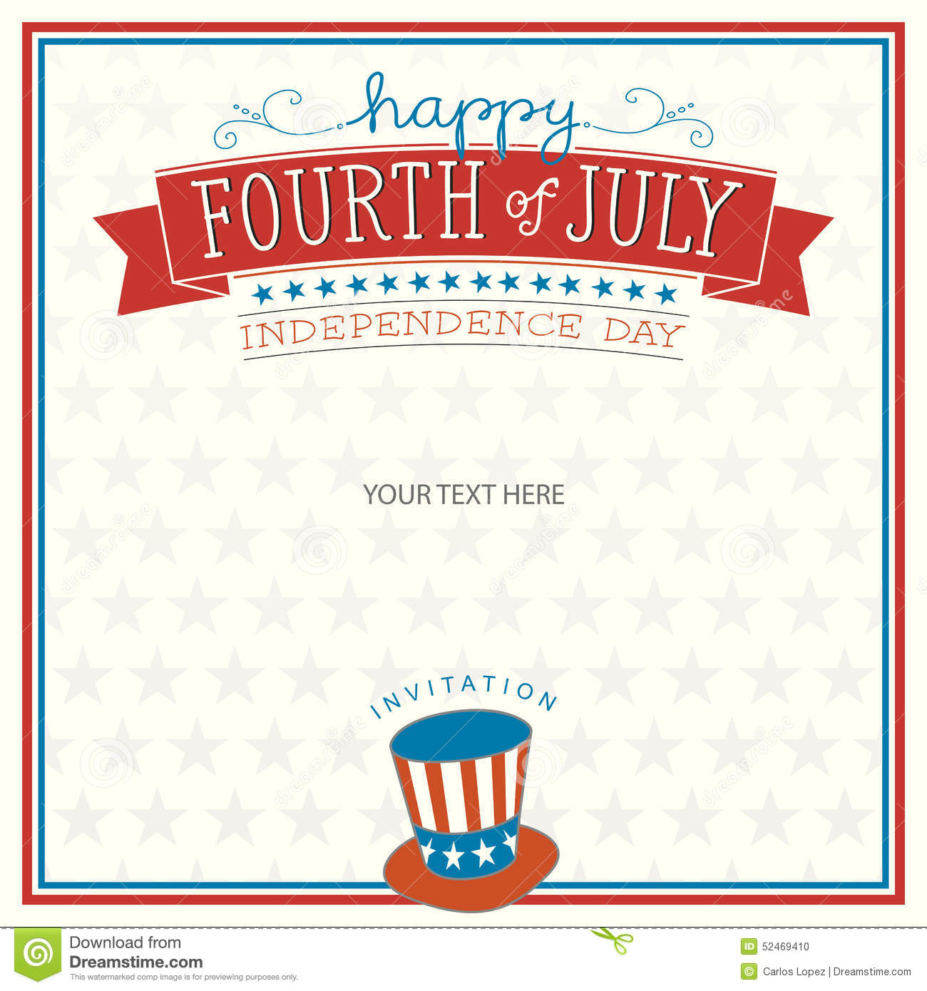 fourth of july invitation stock vector illustration of card 52469410