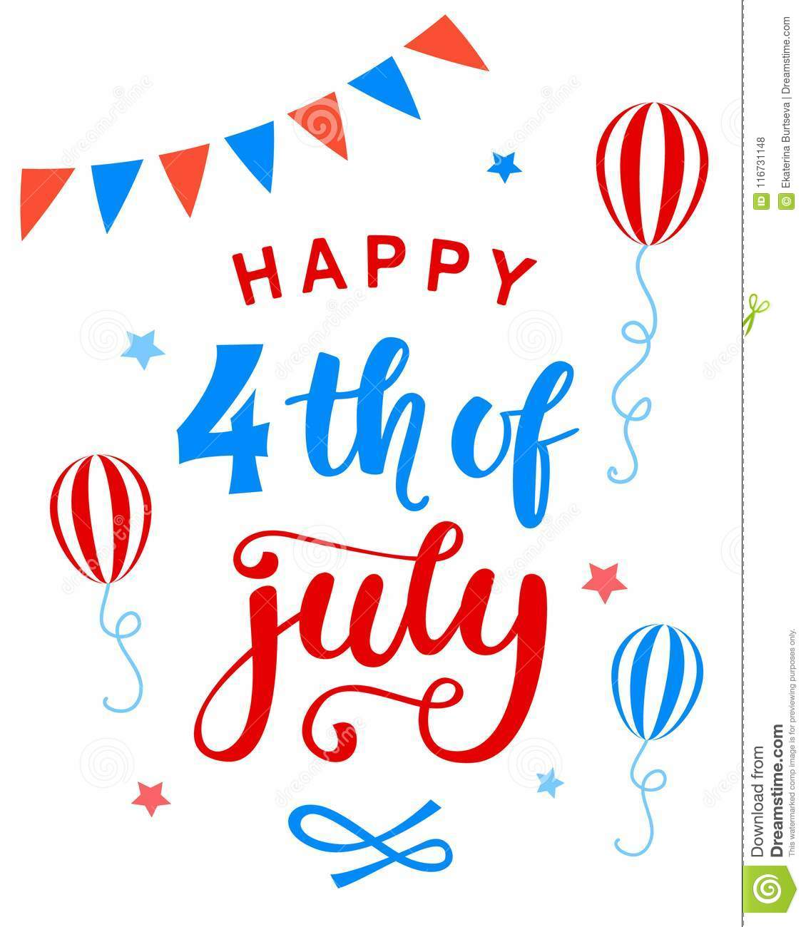 334e3debcb9e62 Royalty-Free Vector. Fourth of July poster with hand written ink lettering