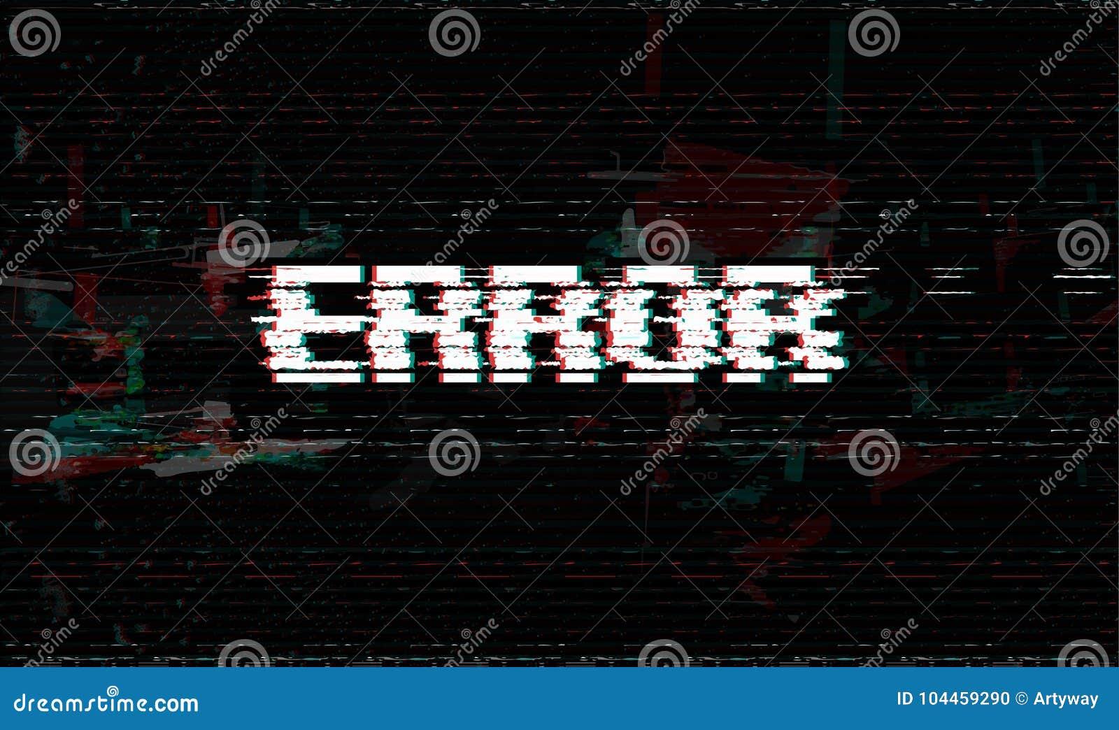 Foutenmelding, glitch, de vectorillustratie van de systeemmislukking, zwarte glitch effect achtergrond