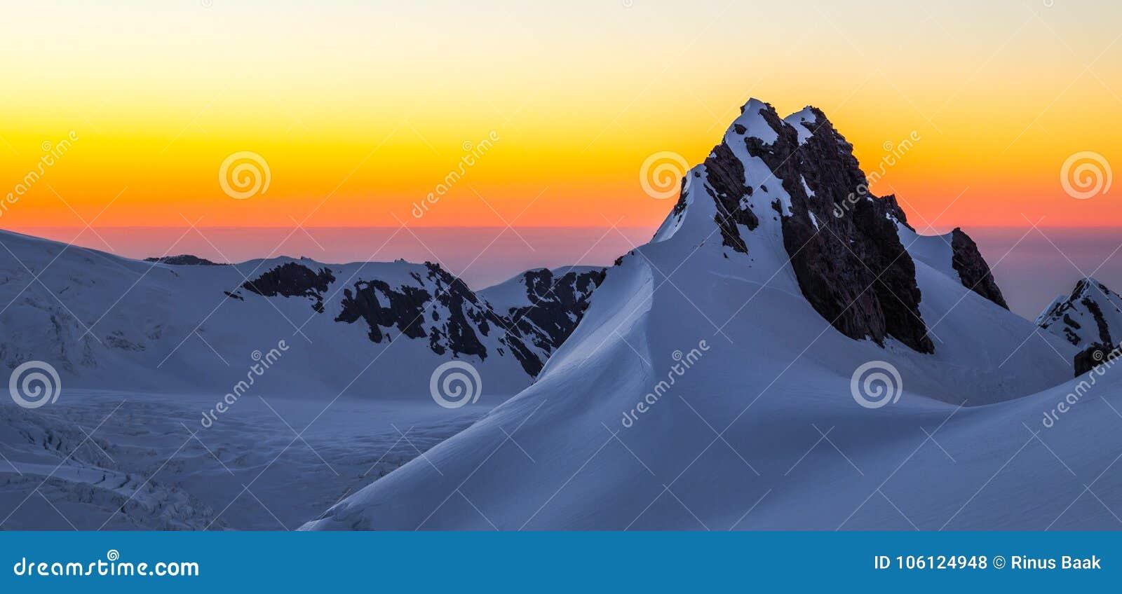 Fox冰川日落