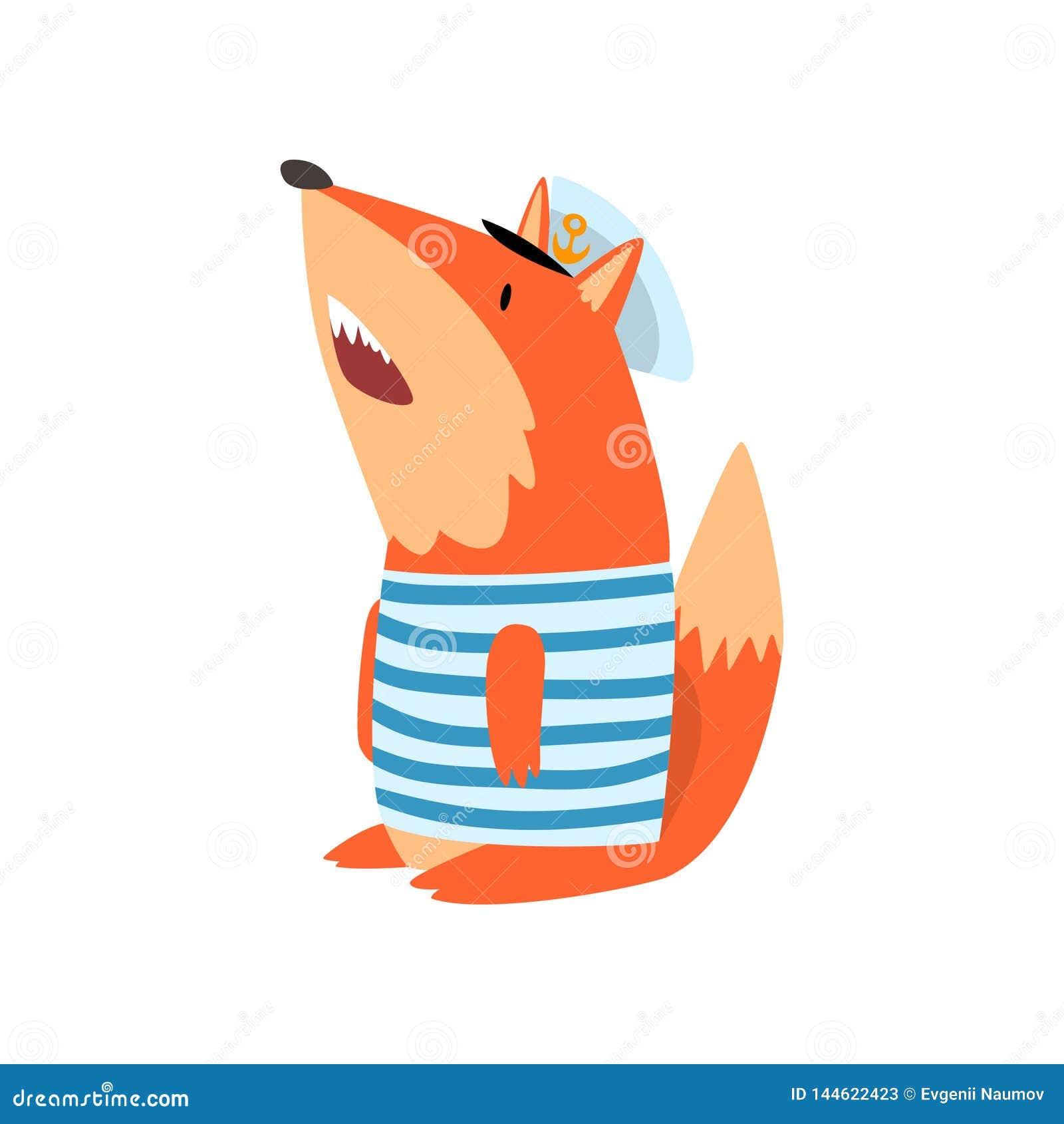 Fox水手佩带的镶边汗衫和盖帽,逗人喜爱的被赋予人性的动物卡通人物传染媒介例证