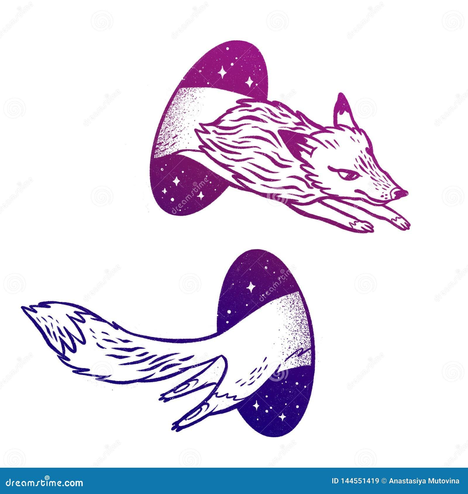 Fox в волшебстве teleport Линейный чертеж в ярком живом цвете градиента