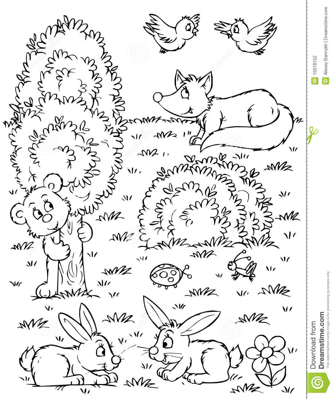 black and white forest animals coloring pages | Fox, bear, hares and birds stock illustration ...