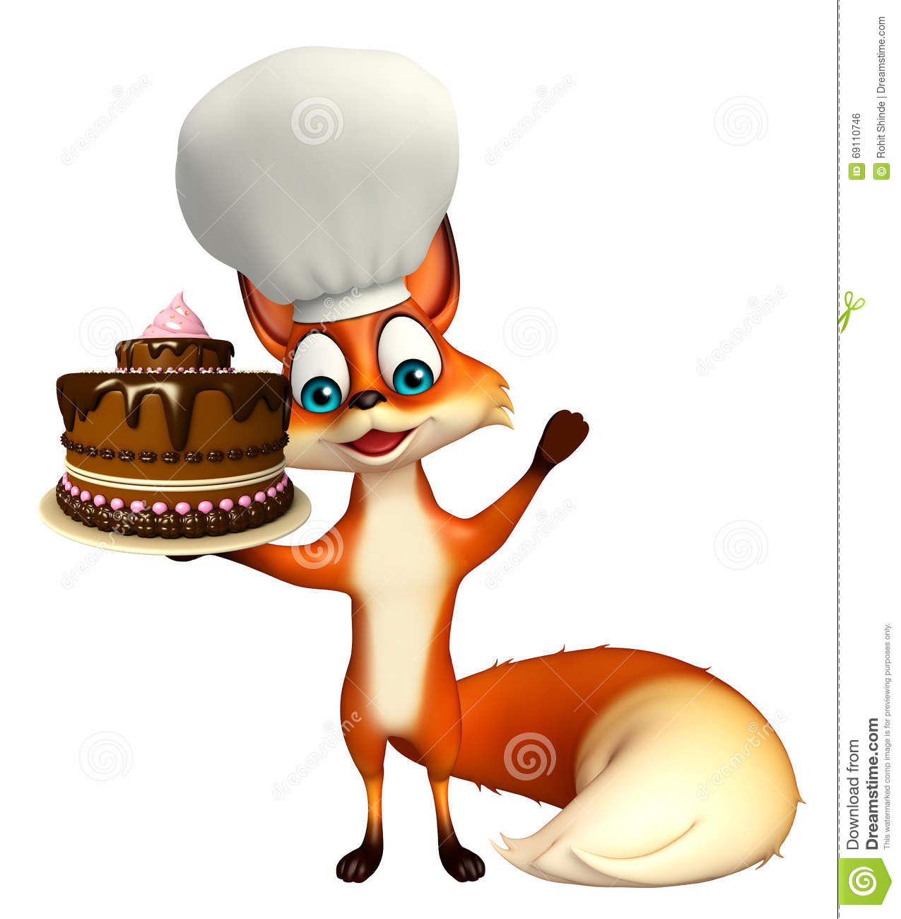 Fox Cartoon Character With Chef Hat With Cake Stock