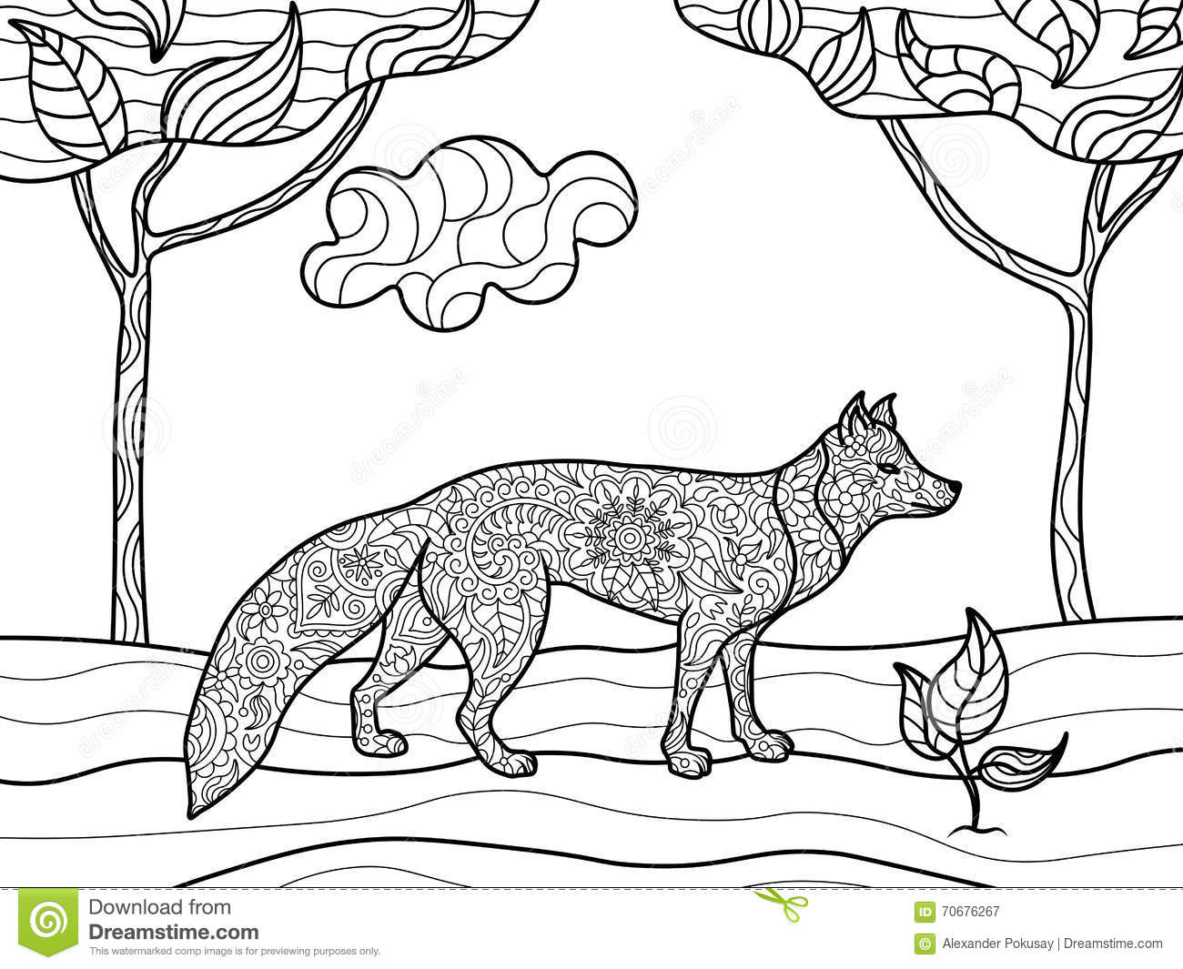 Fox Coloring Book For Adults Vector Stock Vector - Illustration of ...