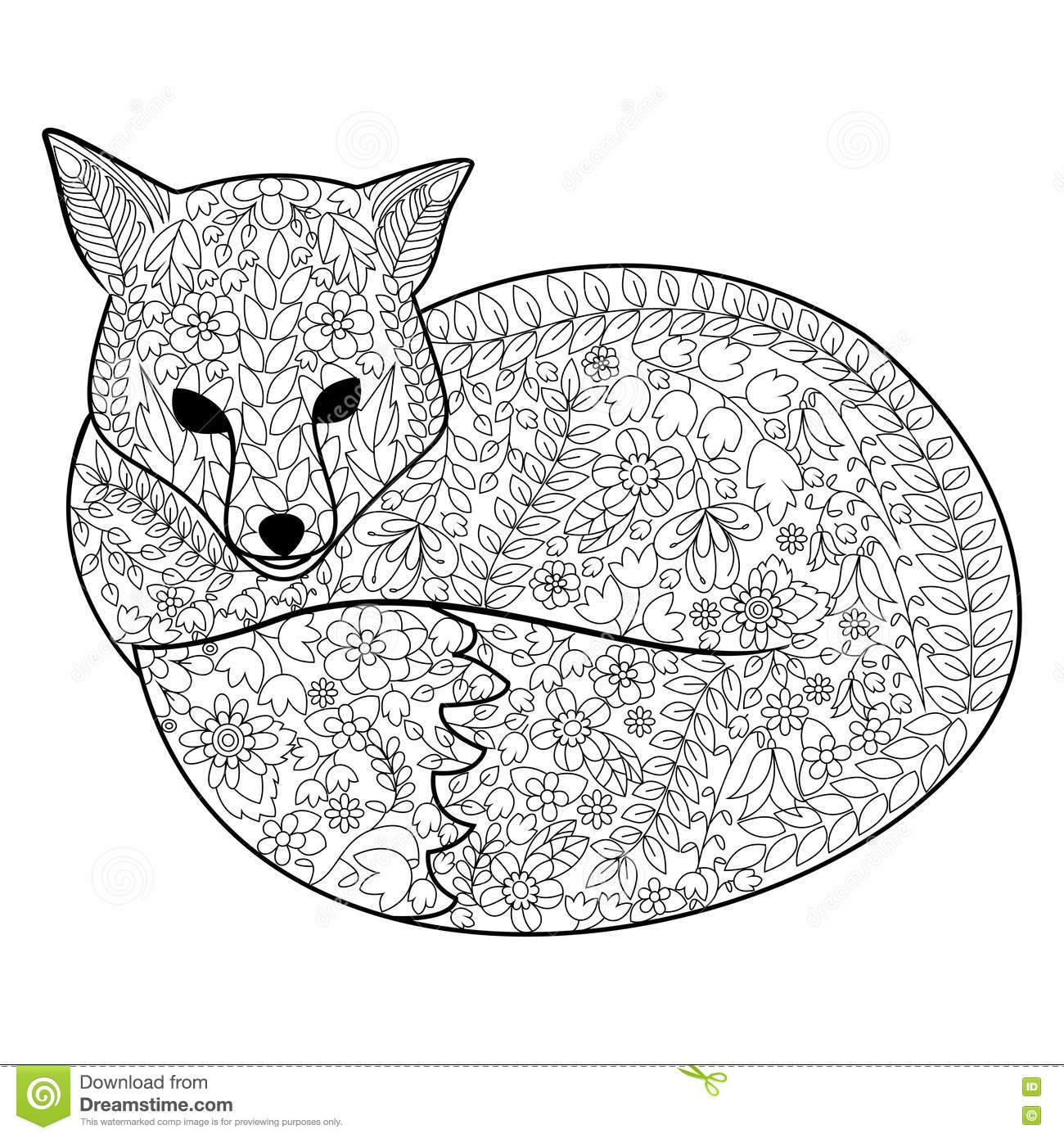 fox coloring pages for adults Fox Coloring Book For Adults Vector Stock Vector   Illustration of  fox coloring pages for adults