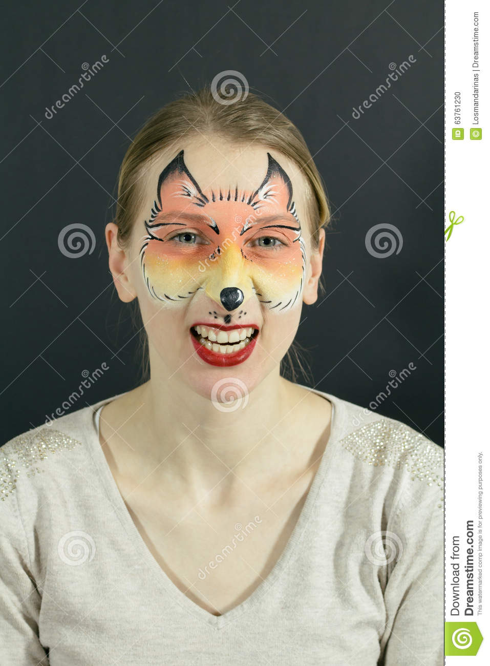 Fox Face Painting Stock Photo - Image: 63761230