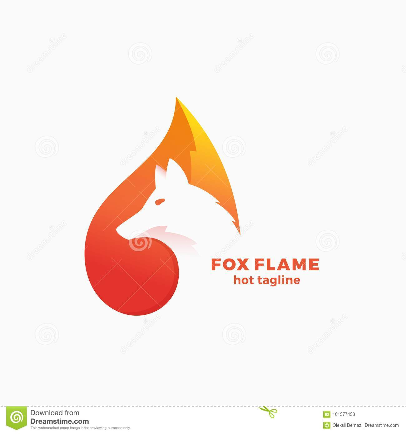 Fox Flame Abstract Vector Symbol, Sign or Logo Template. Negative Space Animal Face Modern Simple Design Concept.