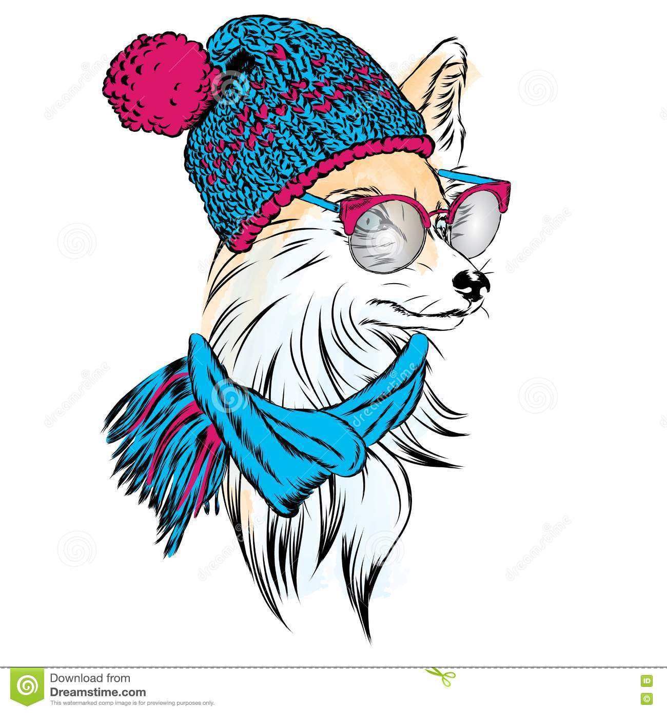 Fox Hat, Scarf And Glasses. Vector Illustration. Hipster ...