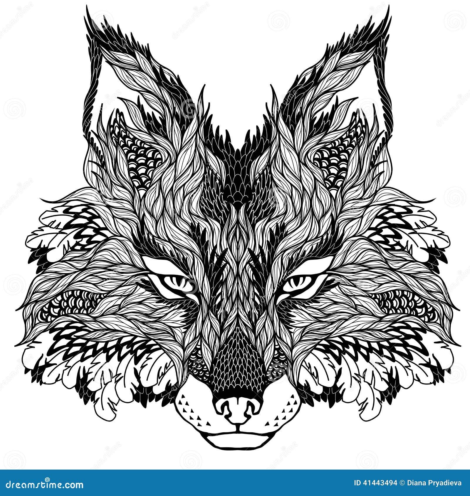 FOX head tattoo  psychedelic  Fox Head Illustration