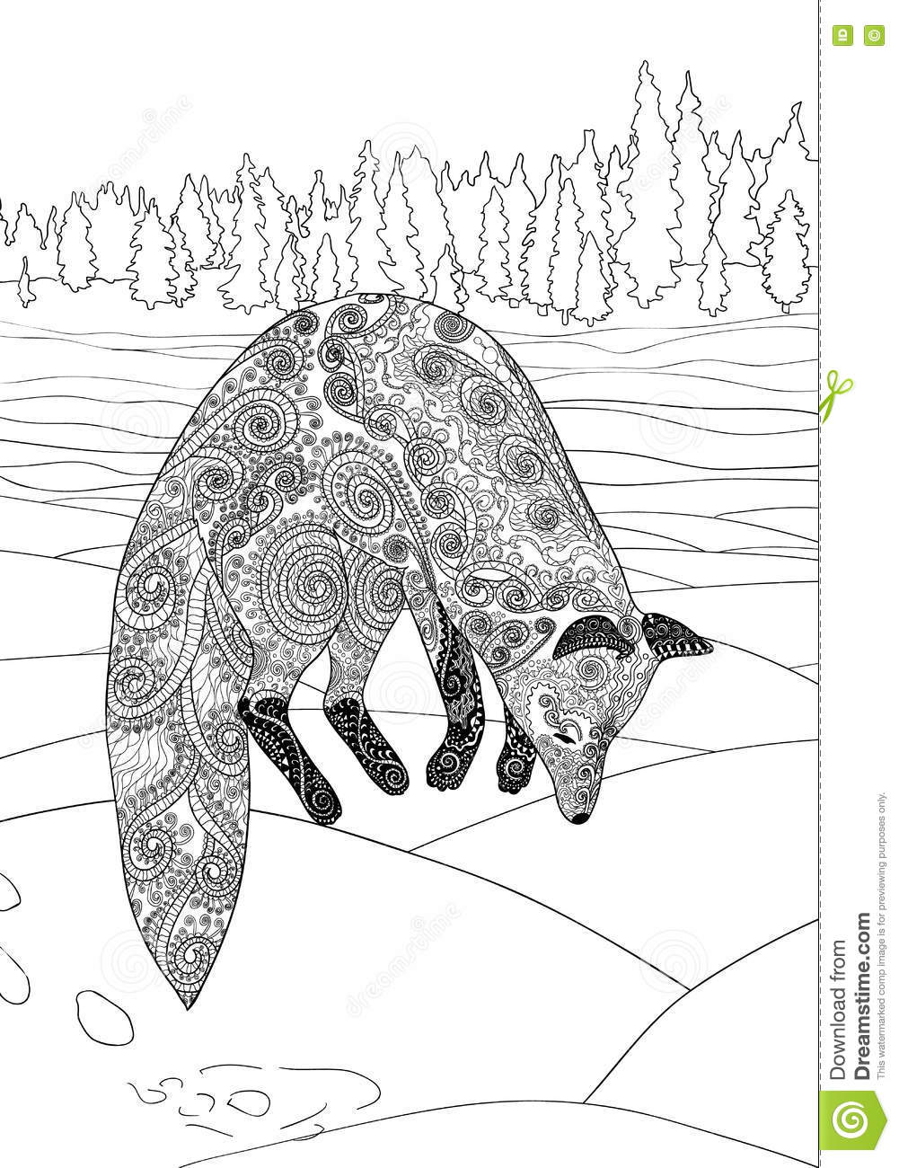 Fox Hunt. Adult Coloring Page For Antistress Art Therapy Stock ...