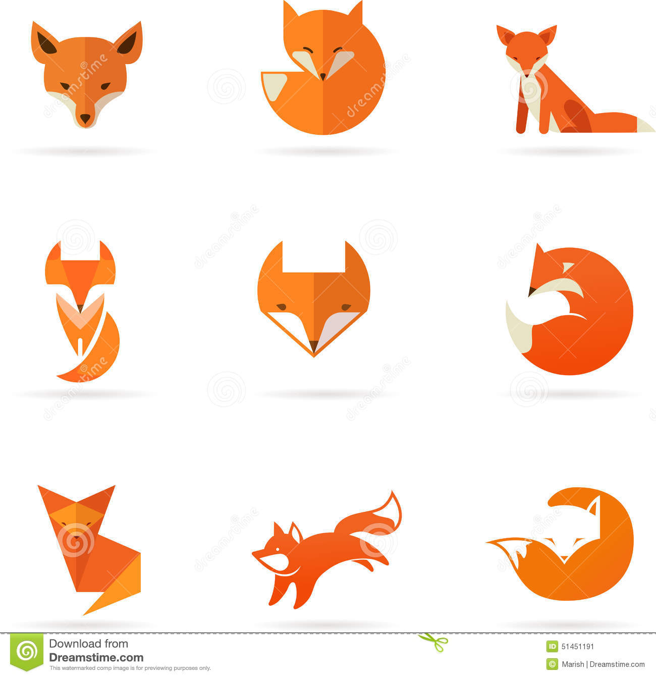 Fox Icons, Illustrations And Elements Stock Vector - Image: 51451191