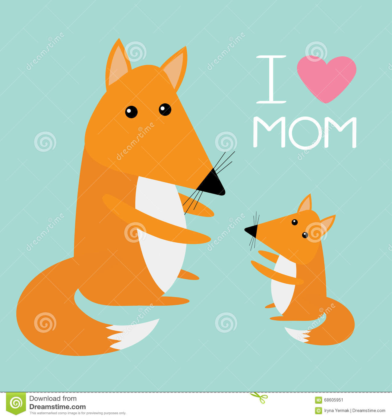 Fox mother and baby cute cartoon character set forest animal fox mother and baby cute cartoon character set forest animal collection pink heart i love mom text blue background greeting ca voltagebd Images