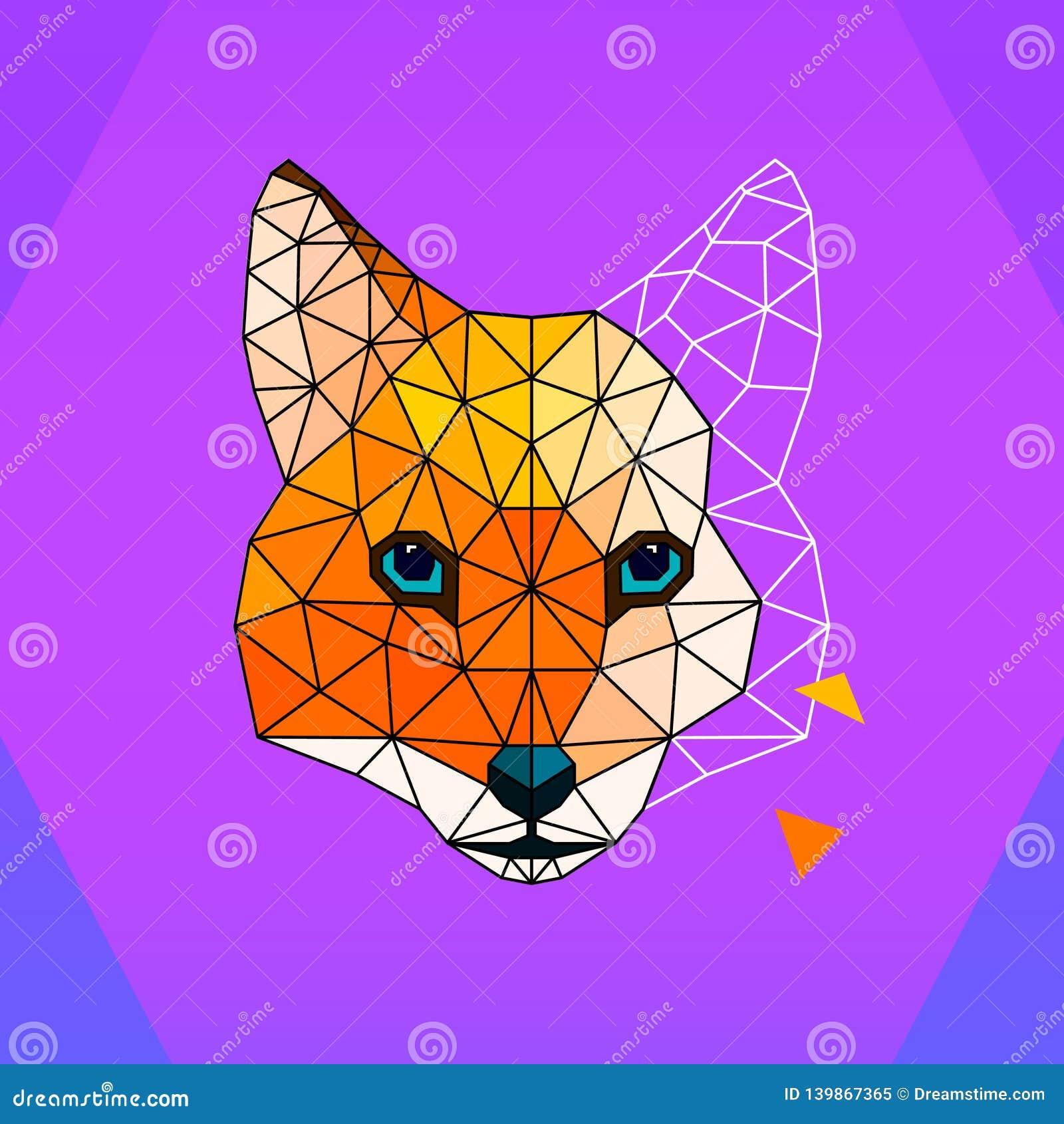 Fox polygon logo / icon. Art illustration
