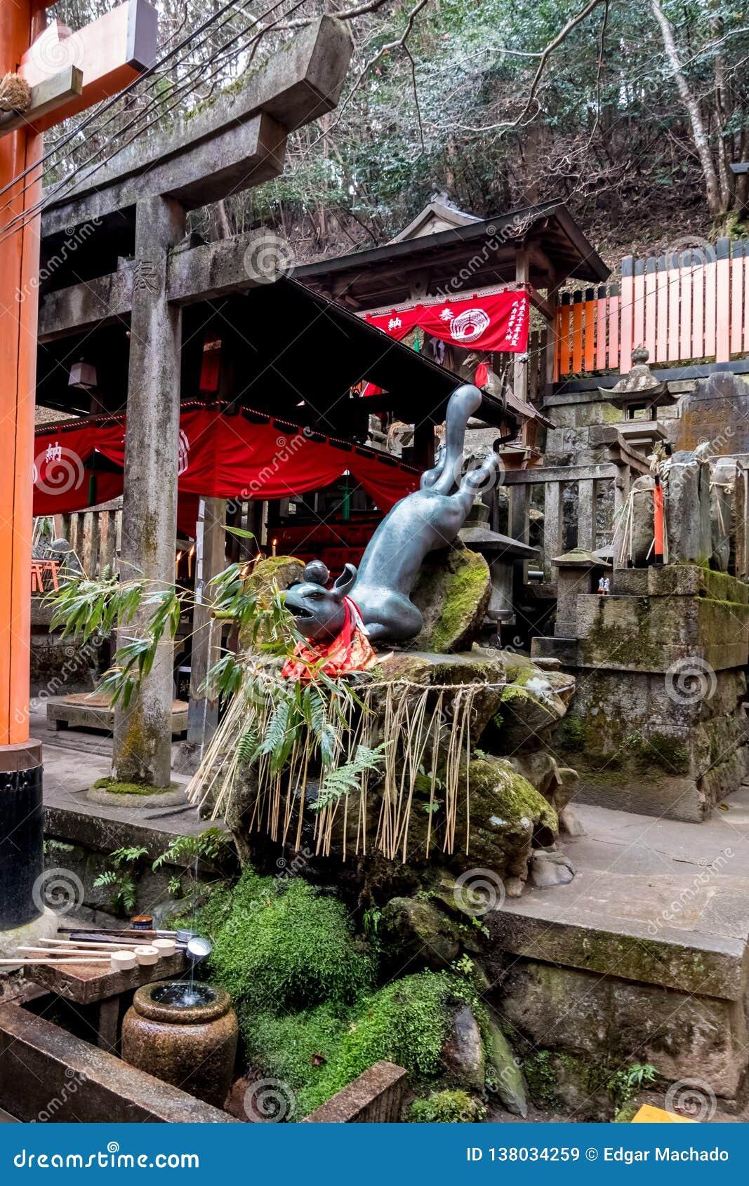 Fox que guarda uma água de fornecimento de bambu