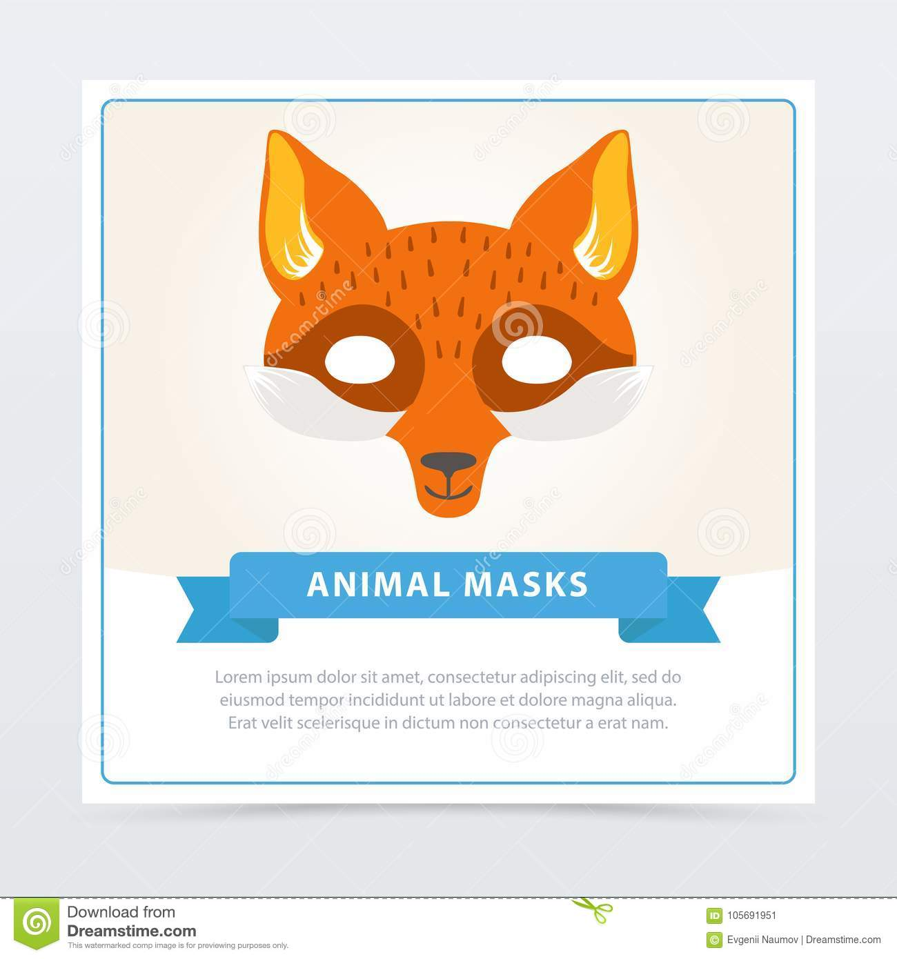 picture relating to Et Mask Printable known as Fox Purpose-engage in Mask For Young children S Theater Or Birthday Celebration