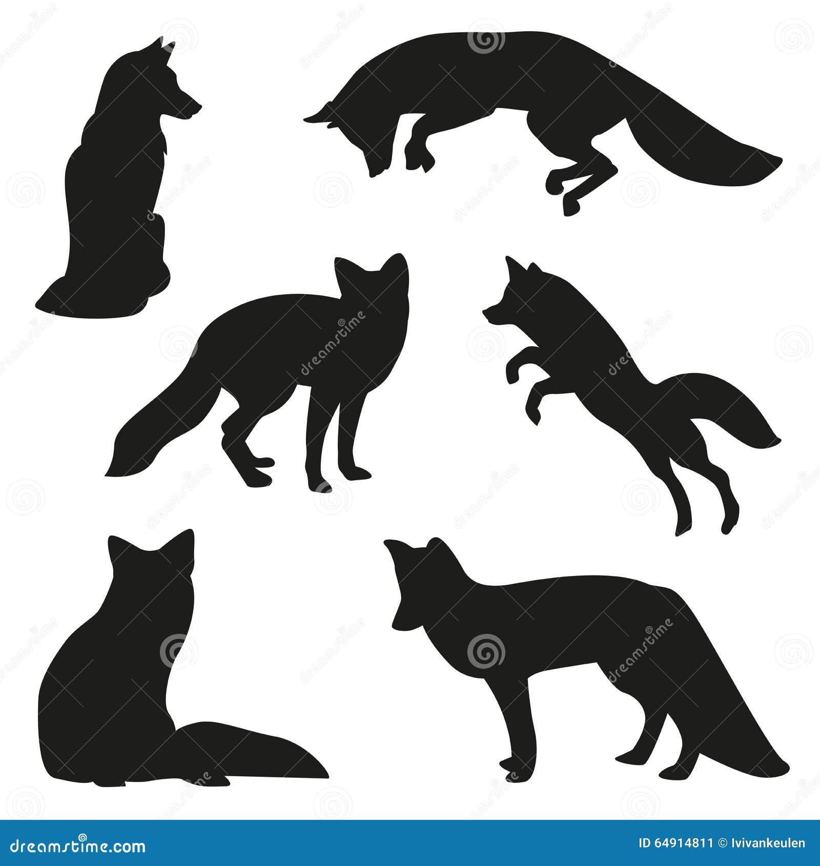 Fox silhouette set stock vector. Illustration of white ...