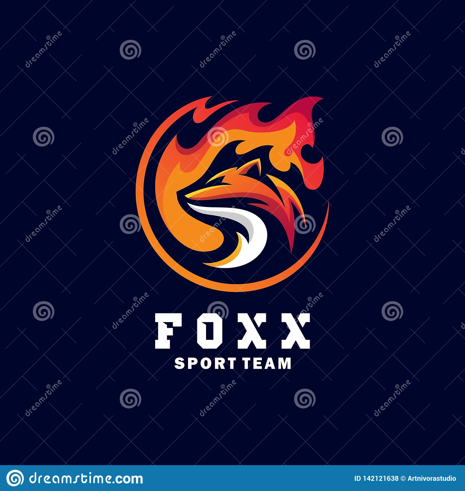 Fox-Sport-Konzeptillustrationsvektor Entwurfsschablone