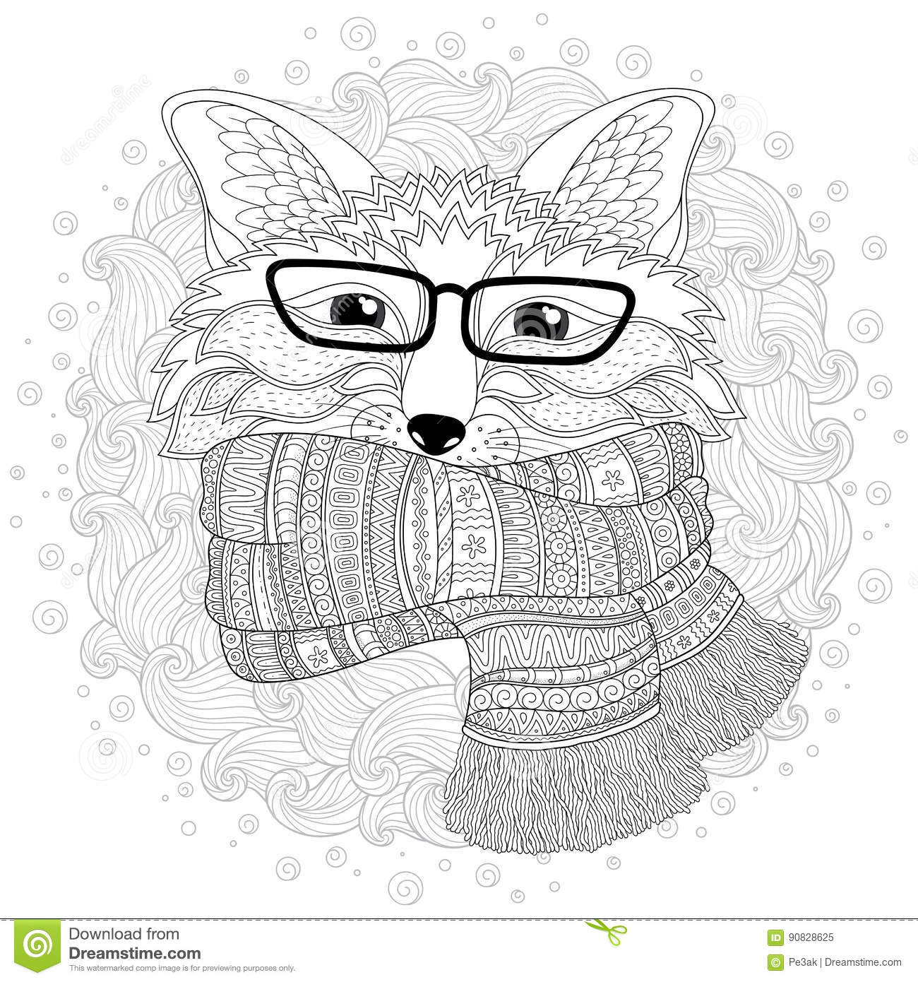 fox wearing scarf coloring page black white hand drawn doodle animal ethnic patterned vector illustration african indian