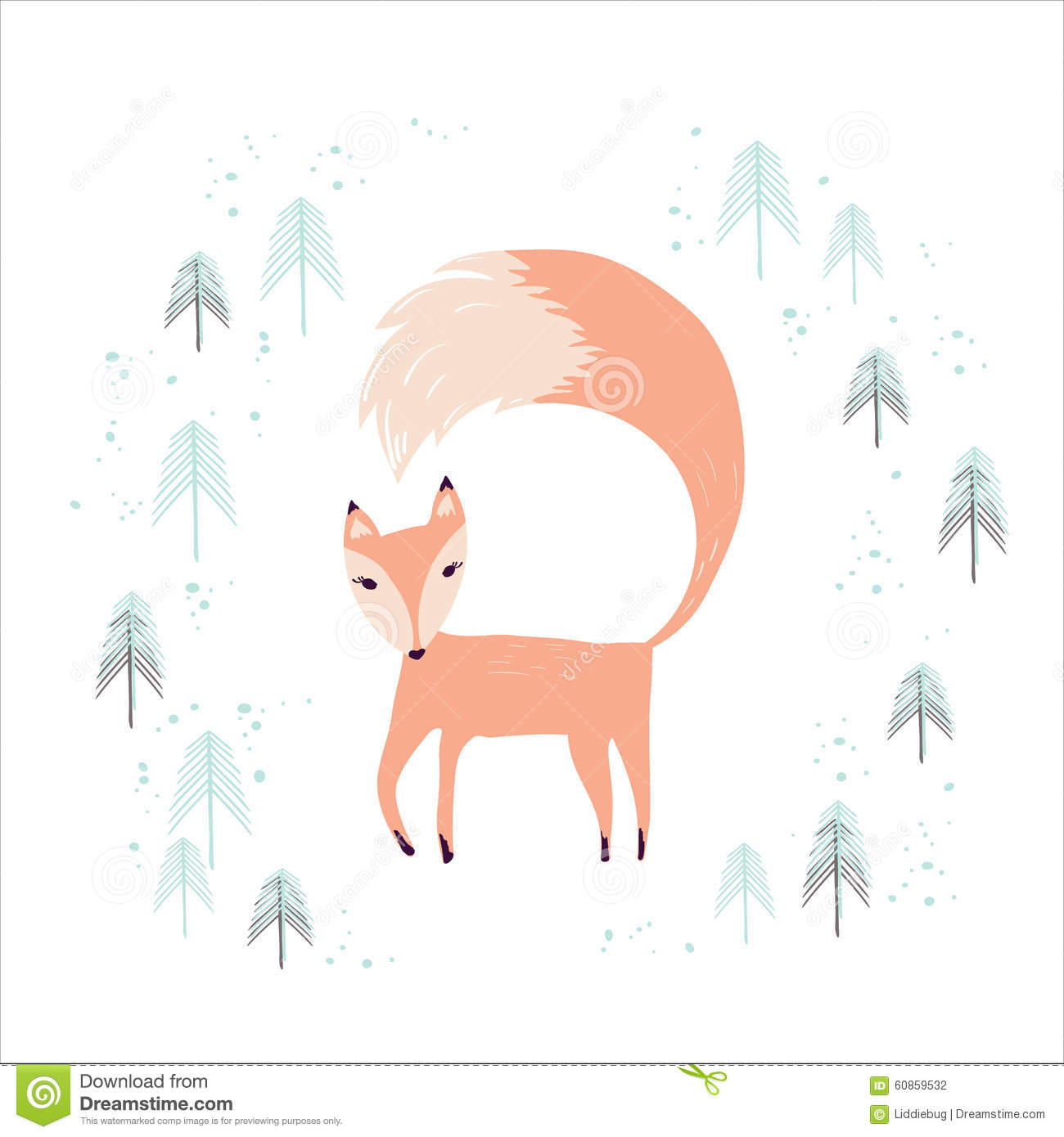 Fox In Winter Pine Forest On White. Stock Vector - Image: 60859532