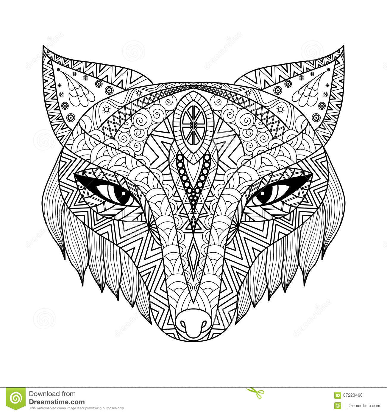 Fox Zentangle Style For Coloring Book For Adults Stock