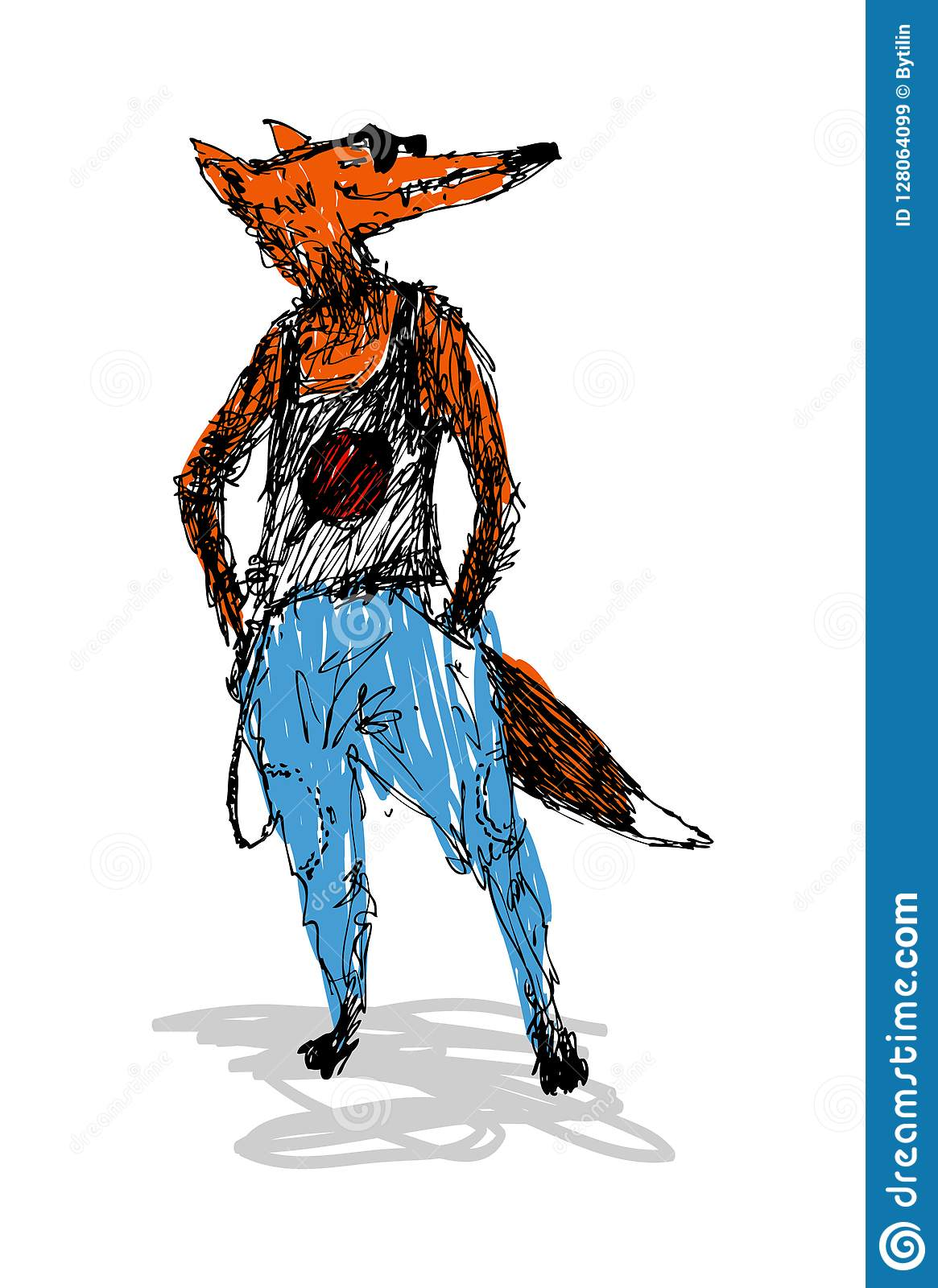 Fashion fox, in a T-shirt and jeans. Perfect for fashion publications or other publications.