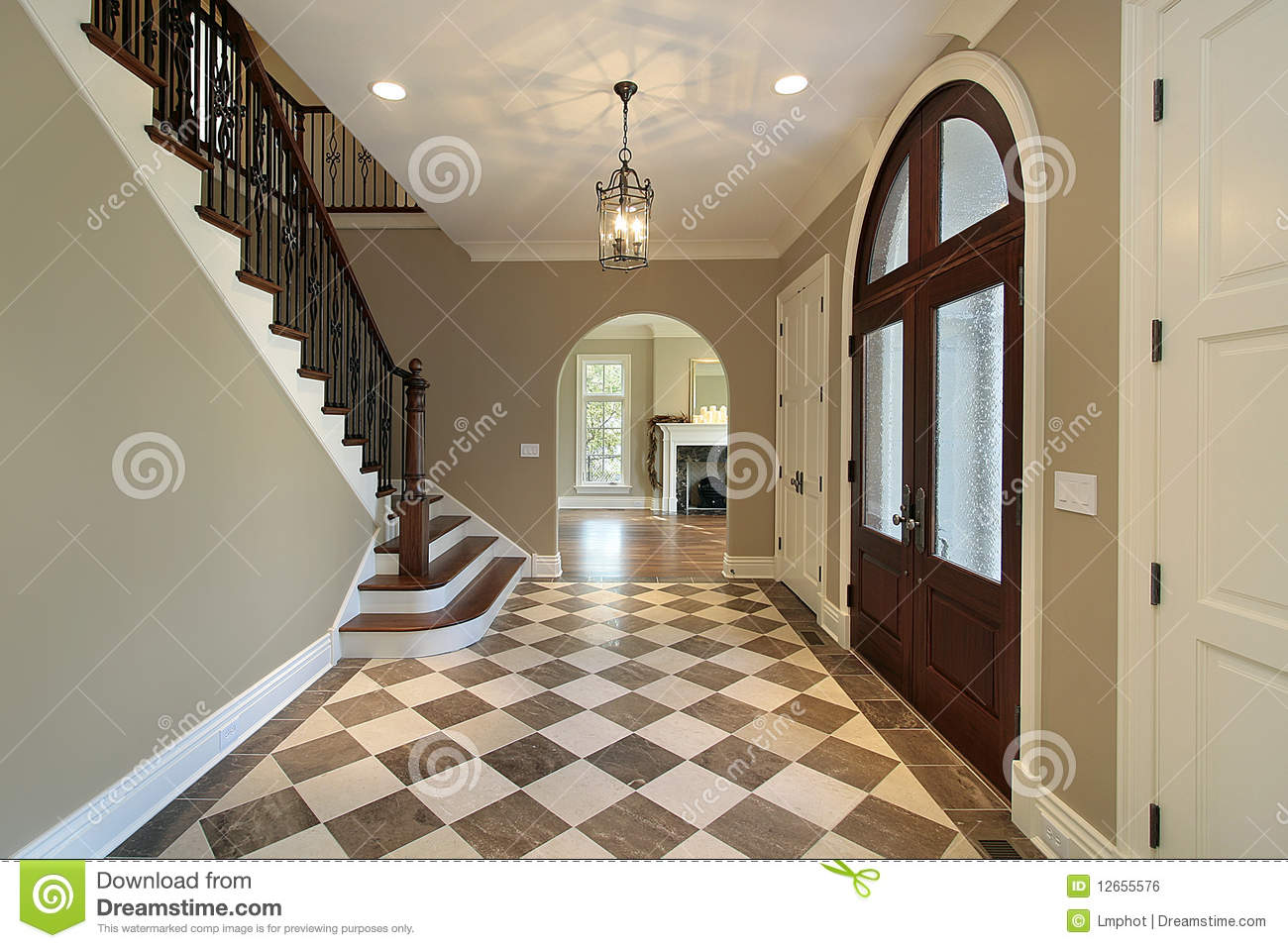 Foyer Clipart : Foyer with checkerboard floor royalty free stock image